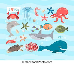 Vector cute sea animals Dolphin and whale, octopus, turtle -...