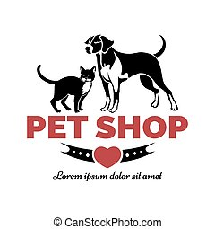 Pet shop logo. Dog and cat. Care and services. Vector...