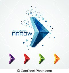 Abstract triangular arrow logo or sign or symbol. Vector...