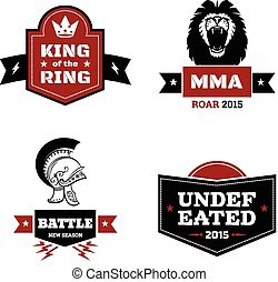 Martial arts logo set - Set of martial arts logo mma and mix...