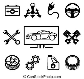 Car maintenance or service icons - Set of car maintenance or...