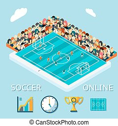 Soccer online. Spectators remotely via tablet watched the...
