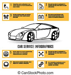Car service infographics data. Analysis, adjustment and...