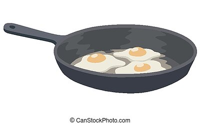 Scrambled eggs - Three eggs in a frying pan on a white...