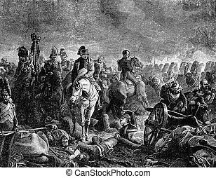 Napoleon At Waterloo - An engraved vintage illustration...