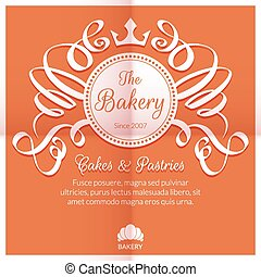 Retro card with bakery logo label. Premium quality emblem....