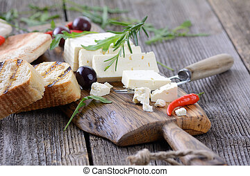Greek feta cheese - Greek snack with feta cheese, olives and...