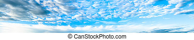 panorama with the blue sky and white clouds - the panorama...
