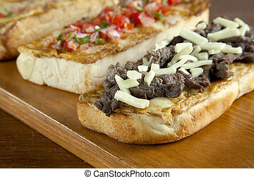 Delicious beef steak open faced sandwiches