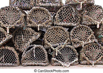 Crab and lobster pots - Wood and net crab and lobster pots...
