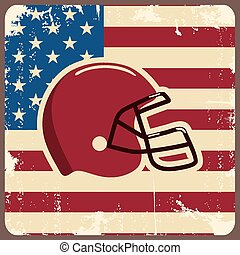 American football label with helmet and flag. Vector...