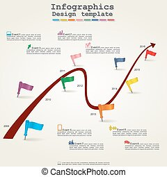 Timeline infographics with elements and icons Vector...