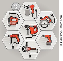 Power tool set Vector illustration Builder equipment