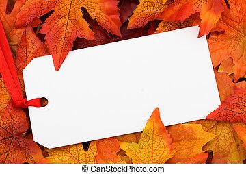 Fall Leaves - A blank tag on a fall leaf background, Fall...