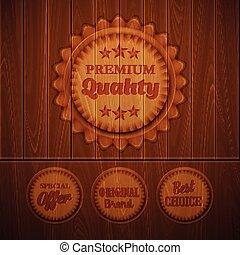 Badges on  wooden background. Vector illustration