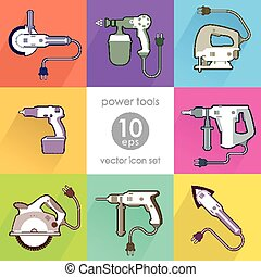 Power tool set. Vector illustration