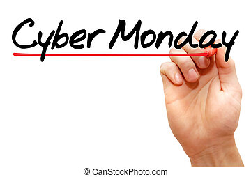 Hand writing Cyber Monday, concept - Hand writing Cyber...