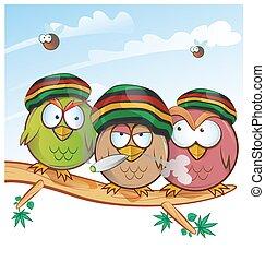 jamaican owl group cartoon on sky  background