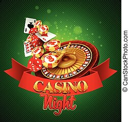 Casino background with cards, chips, craps and roulette....