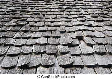 wooden roof texture - brown old craft of wood roof texture