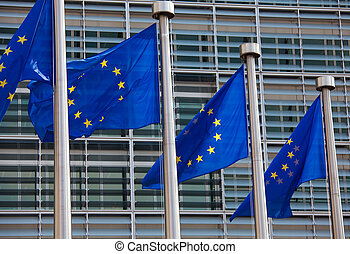 European flags in front of the European commission building in B
