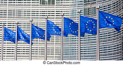 European flags in front of the European commission building...