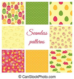 Set of seamless patterns for Easter