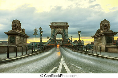 View of Szechenyi Chain Bridge at sunrise, Budapest, Hungary