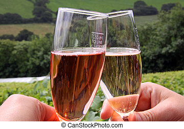 A couple drinking rose and white wines - Glasses of rose red...