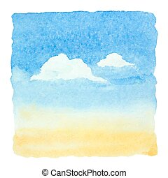 Watercolor blue sky and clouds background. Vector...