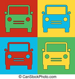 Pop art car symbol icons Vector illustration