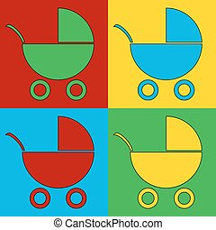 Pop art pram symbol icons Vector illustration