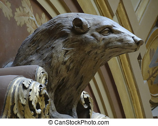 Badger Statue - Statue of a Badger, the mascot of Wisconsin,...