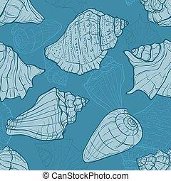 Seamless pattern with seashells