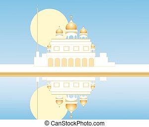 gurdwara with reflection - an illustration of a stylized...