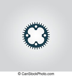 bicycle sprocket - Bicycle sprocket Flat web icon, sign or...