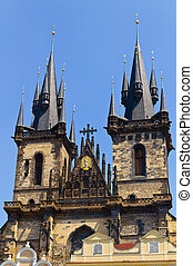 Famous Church Tyn in Prague - Famous Church Tyn in Prague,...