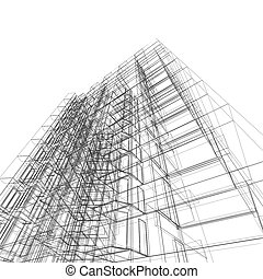Modern building. Architecture design and model my own