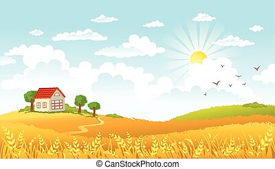 Vector illustration of beautiful landscape - Rural scene...