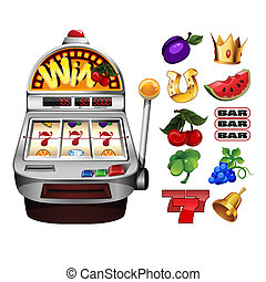 A slot fruit machine with cherry winning on cherries and...