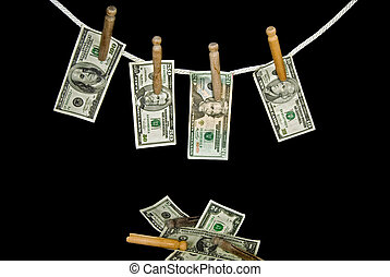 Credit Line - Money pinned to clothesline.