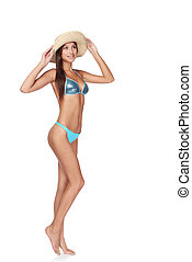Full length beautiful slim woman in blue bikini - Full...