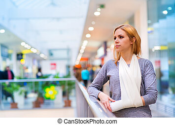 Woman with broken arm - Beautiful woman with broken arm...