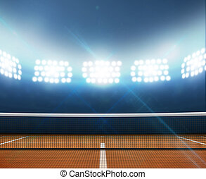 Stadium And Tennis Court - A tennis court in an arena with a...