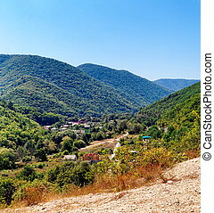 Montain township - View of montain township in Caucasian...