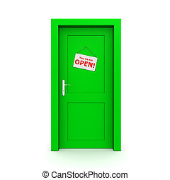 Closed Green Door With Door Sign - single green door closed...