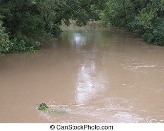 Flooding Stream - A stream overflows its banks, flooding the...