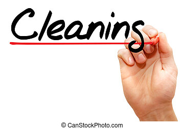Hand writing Cleaning, concept - Hand writing Cleaning with...