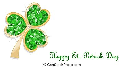 Three leaf clover diamond for St Patricks day