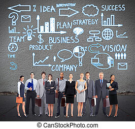 Business team. - Group of business people team near...